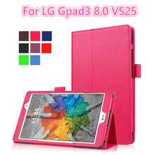For LG Gpad G pad 3 8.0 V525 8 inch Tablet Ultra Slim Lichi Light weight Folio Stand PU Leather Cover Case for LG Gpad 3 8.0''
