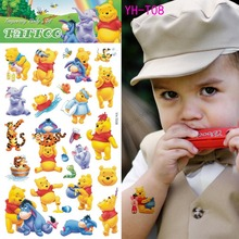 Cute Yellow Winnie The Pool Bear Toys Kids Flash Cartoon Tattoo Sticker Movie TV Body Art Children
