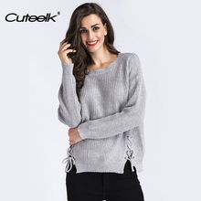 Cuteelk Womens Slit Hem Lace Up Pullover Sweaters Winter Fashion Long Sleeve Jersey Tops Female Sexy Autumn Casual Knitted Coats(China)