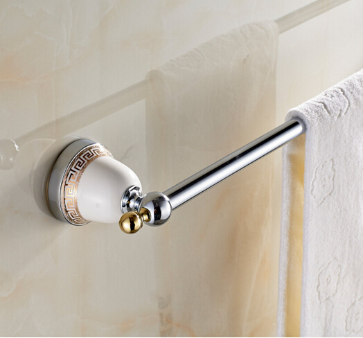 High Quality Single Towel Bar,60 cm Towel Holder, Towel rack Solid Brass &amp; Ceramic Made,Chrome Finish, Bathroom Accessories<br><br>Aliexpress