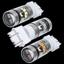 New Super Bright T25 3157 P27/7W Double Reflector Cup LED Car Light Motor DRL Driving Lamp Turn Signal 3156 3057 3456 3757
