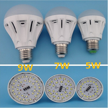 2016 100% Full New Product Plastic Ball SMD2835 LED Bulb E27 B22 E14 AC220V 5W 7W 9W Cold White/Warm White lamp free shipping