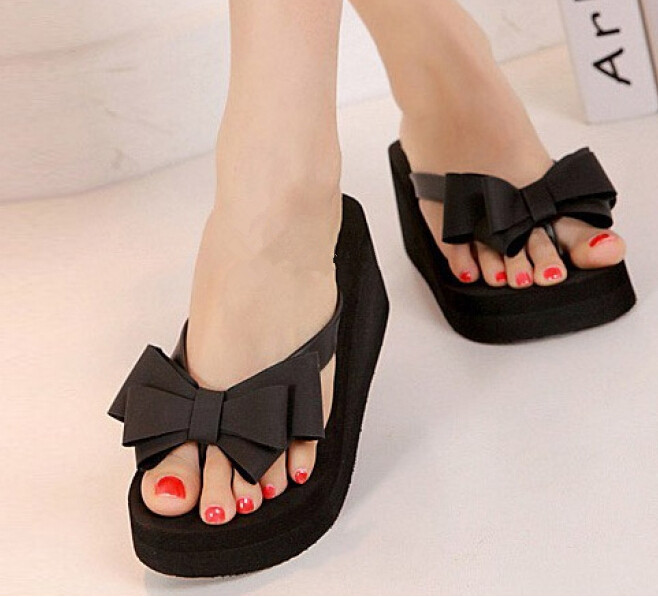 AUAU Ladies Summer Platform Flip Flops Thong Wedge Beach Sandals Knot Bow Shoes<br><br>Aliexpress