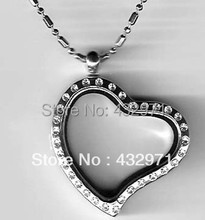 wholesale 28mm alloy heart crystal stone locket with 18-22 inch chain,chain easily removable and replaceable