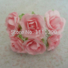 3CM artificial wedding paper roses bouquets,mini mulberry paper flowers for diy scrapbooking paper flowers,craft paper pom poms(China)
