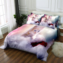 Ensembles de literie 3d Colchas de cama queen ensemble de literie de luxe double lit simple linge de lit ensemble housse de couette ensemble oreillers motif de chat mignon(China)