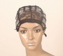 5PCS/Lot  Large Black Wig Making Cap Top Stretch Weaving Cap Back adjustable Strap for making wigs
