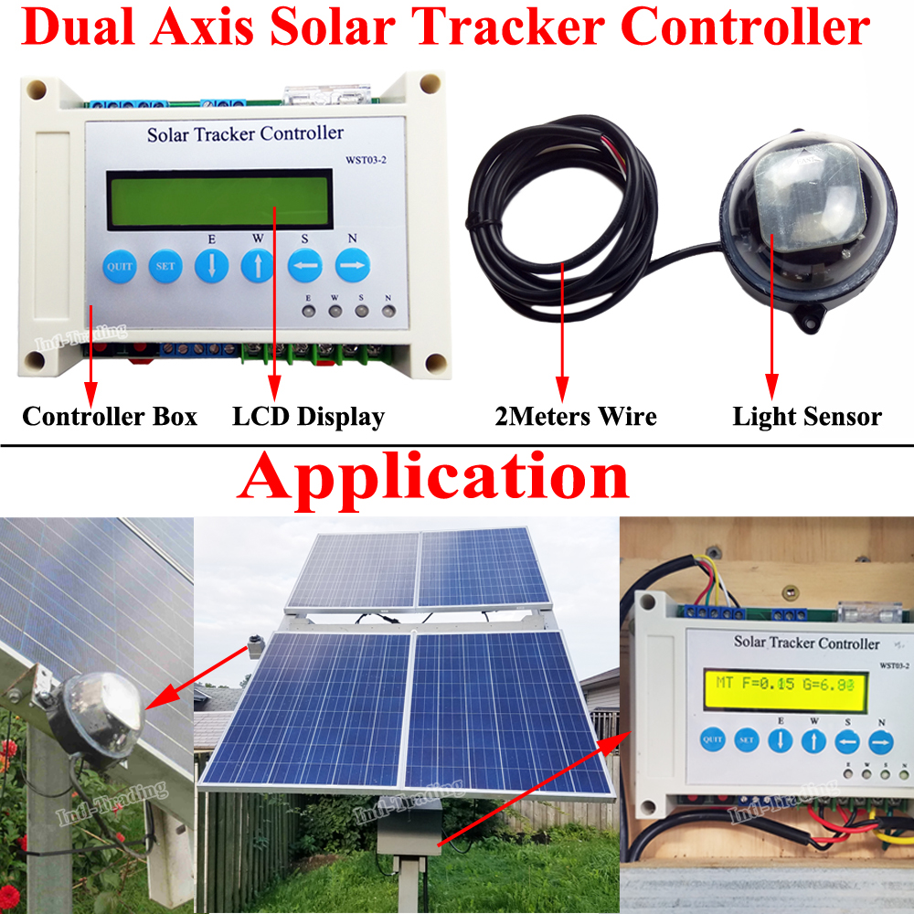 DC Power 12V/24V Dual Axis Solar Tracking LCD Controller W/ Light Sensor For Complete Electronic Solar Tracker Sun Track System(China (Mainland))