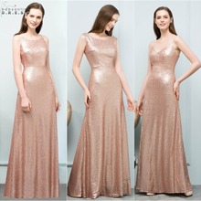 Sexy Rose Gold Sequin Bridesmaid Dress Long Elegant Backless A Line Dress  for Wedding Party Robe 6d8a395c2a37