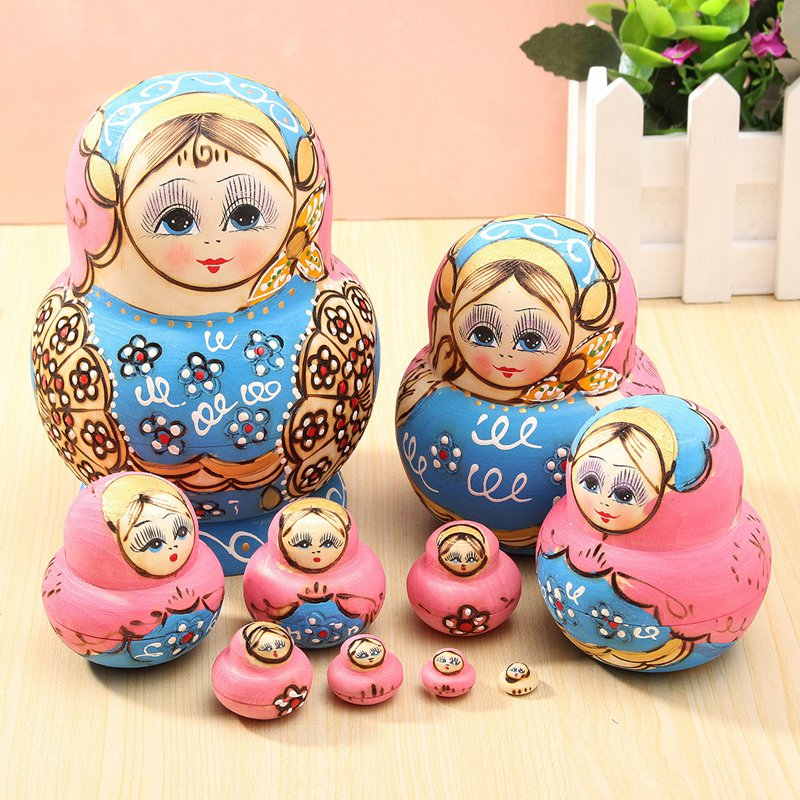 10Pcs/set Blue Doll Wooden Russian Nesting Babushka Matryoshka Doll Sets Toys For DIY Hand Painted Gift For Children Adult<br><br>Aliexpress