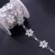 5Yards Exquisite Star Pearl Clothing decoration chain Crystal Rhinestone Trims Handmade DIY Accessories Prom Wedding dress sew o