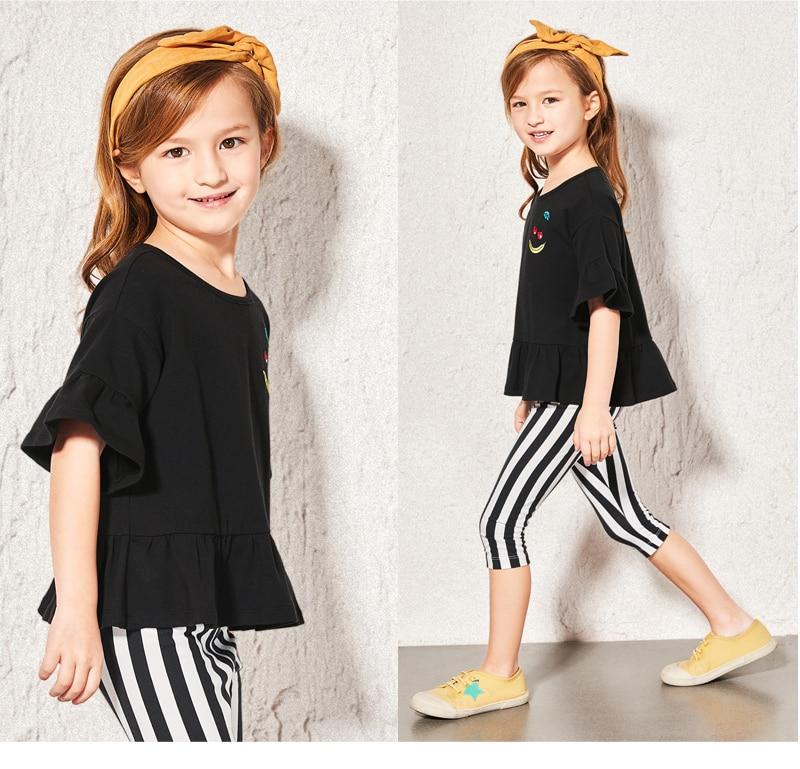 Balabala Summer T Shirt for girls pure cotton flare Short Sleeve Baby Girls T-Shirts Children's T-Shirt O-Neck Tee Tops Clothes