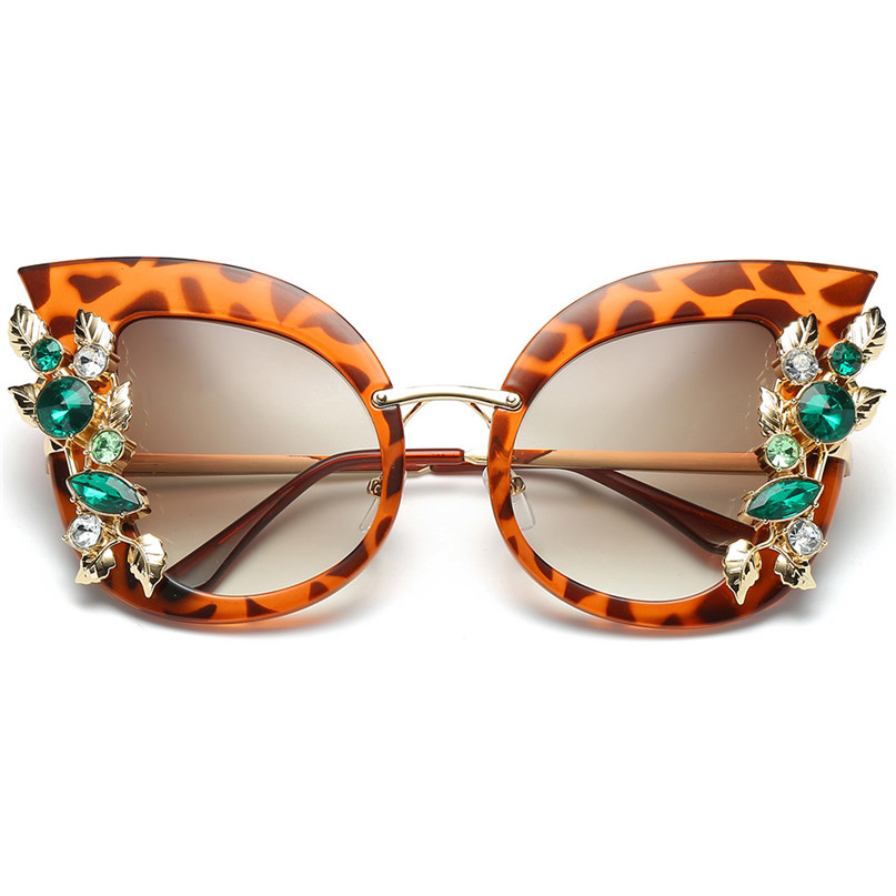 Sport Sunglasses Cycling Eyewear Womens Fashion Artificial Diamond Cat Ear Metal Frame Brand Classic Sunglasses #2J06#F (10)