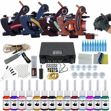 Professional Tattoo Kit 4 Tattoo Machine Guns Set  14 Color Inks Power Supply Complete Tattoo Kits Permanent Make Up Tattoo Kit