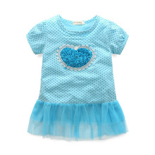 2018 Costume Summer Children Clothes Girls Beautiful Lace Dress Baby Girls Teenager Kids Dress Blue Heart Girls Princess Dresses(China)