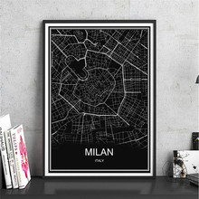 World map Italy MILAN Canvas Coated paper Modern City poster Abstract print picture oil painting Living Room Cafe Decor home