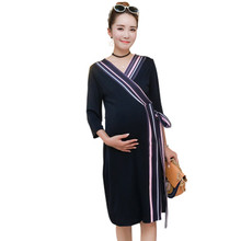 Hot Sale Maternity Dresses hypotenuse Bowknot Clothes For Pregnant Women V-neck Pregnancy Clothing Plus Size B0291(China)