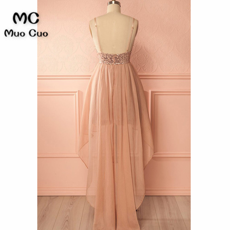 Shinning sequins high low champagne chiffon homecoming dress, long straps party dresses4