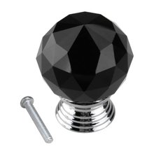 Black Crystal Glass Cabinet Drawer Door Knobs Handles 30mm