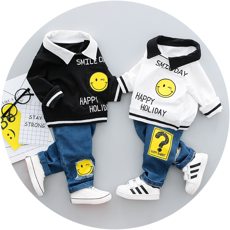Boys Clothing Set Spring 0-3y New 2018 Fashion Style Cotton turn-down collar full Sleeve with smile Print Baby Boy Clothes 18001 3
