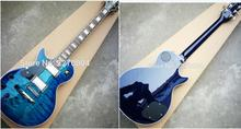 dark blue, wavy, left-handed LP electric guitar, good sound, guitar soundtrack, free shipping