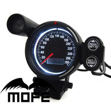 MOFE Original Logo Red LED Display + Blue LCD 80MM Speedometer Meter With Shift Light White Color(China)