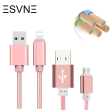 ESVNE 1.5m USB Cable Braided Nylon Micro USB Cable for iPhone 5 6 7 Plus iPad Samsung Xiaomi Phone Charger microusb Data Cable