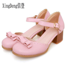 XingDeng Plus Size 32-44 Women Fashion Sweet Woman Round Toe Bow Ties High Heels Pums Shoes Ladies Belt Buckle Party Stiletto(China)
