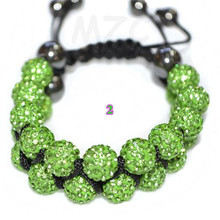 Hot !Free Shipping! 22Bead 10mm Double row New DR micro pave Disco Ball Beads crystal shamballa bracelet wholesale!(China)