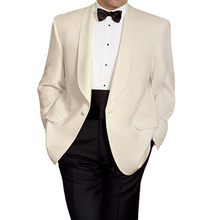2018 Classic Style Men Suits Shawl Lapel Two Piece Wedding Groom Tuxedos One Button Ivory Jacket Black Pants(China)