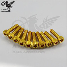 10pcs 6mm golden motorcycle screw colorful motorbike decal screws for yamaha honda suzuki kawasaki motocross moto Accessories(China)