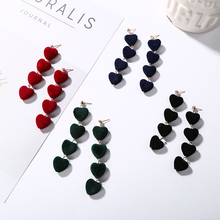 Cute Red Navy Green Velvet Lover Heart Dangle Drop Earrings for Women Girls Long Earring Pendientes Crystal Nice New Year Gifts(China)