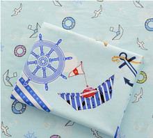 160cm*50cm Sea sailing cotton fabric baby cloth kits bedding quilting kids clothes patchwork tecido craft sewing material