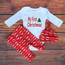 Fashion Baby Christmas Clothing Set Girls Cotton Soft Clothes Set Long-sleeved Jersey + Pants + Hat Red Natal Roupa