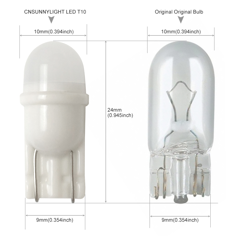 CNSUNNYLIGHT Newest Ceramic Base T10 W5W LED 3030 Car Interior Light Marker Lamp 12V 194 501 Wedge Parking Dome Bulb White 5500K (4)