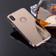 "Mirror TPU Case For iPhone X Case Coque Clear Soft TPU Frame Acrylic Back Cover For iPhone X 5.8""Capa Funda with Dust Plug"