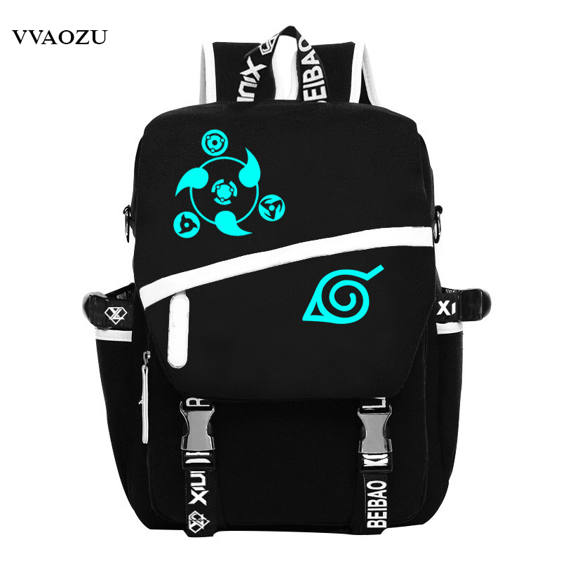 Cartoon Noctilucent Naruto Write Round Eye Cosplay Shoulder Bag Men/Women  School Students Canvas Bags Backpacks Schoolbags<br>