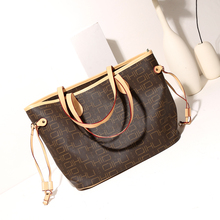 Excellent Quality Never Women Shoulder Bag Canvas Women Shopping Bag Real Leather Women Full Handbag(China)