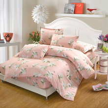 100% Cotton Bedding Set 4Pcs pink white flowers King Queen full twin Size summer Bed set fitted sheet Duvet Cover pillowcase
