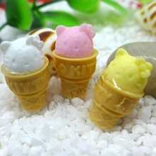 21*12mm Free Shipping!Resin Kt Ice cream, Resin Flat Back Cabochon for Phone Decoration Embellishment , DIY(China)