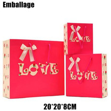 "New Accept Packages ""Love"" Pattern Paper Bags Printing Paperboard Packing 20pcs/lot 20*20*8cm Bag Drawstring Package"