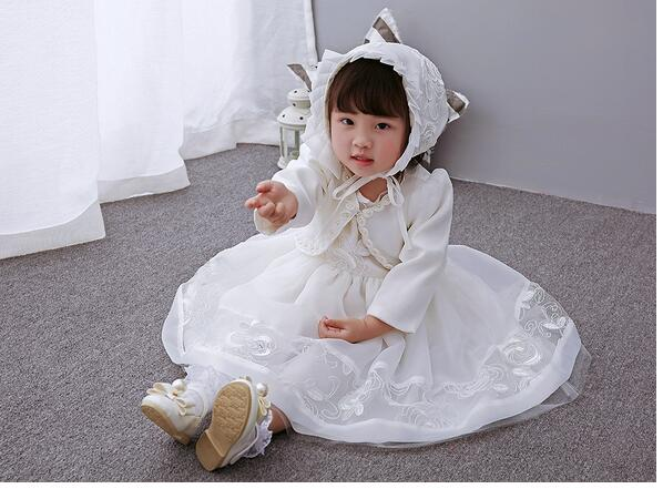 Baby Girls Pageant Suits 2017 Summer Lace Bow Christening Dress+Hat+Coat Infant 3PCS Sets Kids Birthday Wedding Formal Outfits<br>