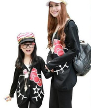 2017 hellow kitty mother daughter outfits cartoon coat matching mother and daughter clothes family look mommy and me clothes