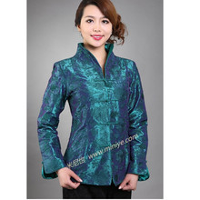 Hot Sale Blue Vintage Chinese Women's Silk Satin Jacket Embroidery Coat Long Sleeves Flowers Size S M L XL XXL XXXL(China)