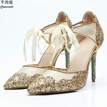 Qianruiti Brand Fashion Women Gold Glitter Sandals Mesh High Heels Pointed  Toe Lace Up Stilettos Bridal 5fbbd63c0eb9
