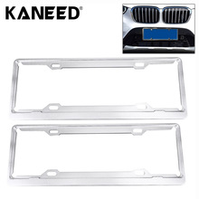 2 PCS Car License Plate Aerospace Aluminum Bracket Frame Holder Stand Mount Silver license plate covers frames