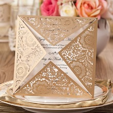 100/lot New Arrival Laser Cut Luxury Wedding invitation Card four folded flower lace birthday invitation blessing card Qj-16(China)