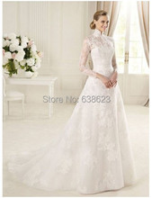 DAW 829   Free Shipping Muslim High Neck Long Sleeve Lace Wedding Dresses Patterns