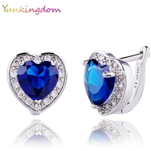 Yunkingdom Heart Design jewelry new white Gold Color Cubic Zirconia 2017 new Hoop Earrings For Woman