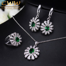 Lovely Flower CZ Stone And Green Crystal Necklace Earring Ring Set Fashion 925 Sterling Silver Jewelry For Women  T282